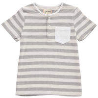 Me & Henry Henry Neck Stripe Tshirt Grey 104/ 110/ 116/ 122/ 128/ 134/ 140cm