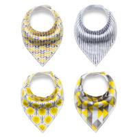 Yellow/Grey Bibs ベビー・スタイ4つセット