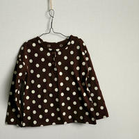 水玉長袖Tシャツ Dot Long-sleeve Tshirt Brown 80cm~120cm