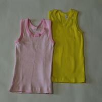 コットン リブ肌着 2枚セットPink & Yellow 100cm/ 110cm/ 120cm/ 130cm