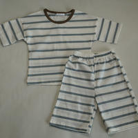 ストライプ半袖パジャマ Stripe Pajama BlueGrey x Brown neck 100/ 110cm