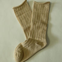 無地Plain Socks Beige 1足 14-18/ 18-22cm