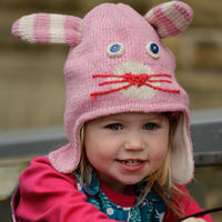Piccalilly Knit Hat Pink Bunny 3-5y
