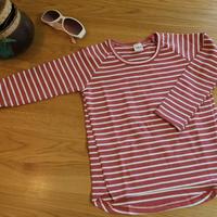 ストライプTシャツ Red 130cm/ 140cm