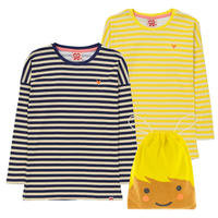 Tootsa Essential Striped T 長袖2枚セット Sun & Navy 80/ 86/ 92/ 98/ 104/ 110/ 116/ 125cm