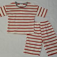 ストライプ半袖パジャマStripe Pajama Red 110/ 140cm