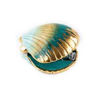 Blue & Gold Shell stapler  Nach bijoux