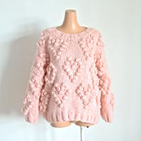 Heart ponpon knit  Pink  CARE OF YOU