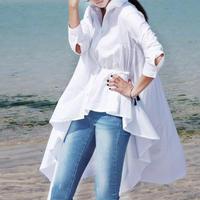 アシンメトリーブラウス 白シャツ 長袖シャツ