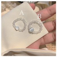 Clear sphere &shell heart  ring【R0192】