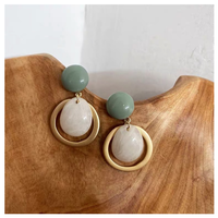 Smoky green stone pierce【R0129】
