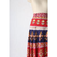 70's Indian cotton maxi wrap skirt [059C]