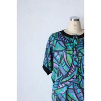 80's Patterned dress [379C1]