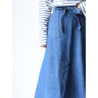 Denim long wrap skirt