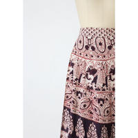 70's Indian cotton maxi wrap skirt [037C]