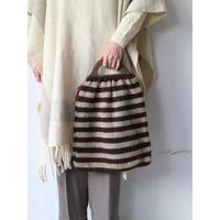 Wood Handle Knit Hand Bag