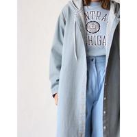 Hooded denim lomg coat