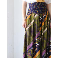 Wide waist patterned skirt