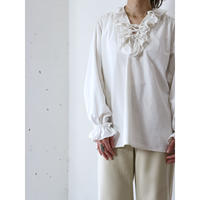 Lace up frill blouse