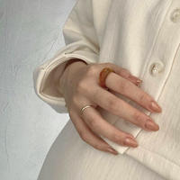 R-113 (3set)brown ring & gold simple ring