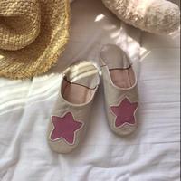 Kidsお星様のバブーシュ mocha×Pink star