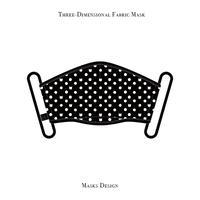 スリーディメンション マスク  / キャット ポルカ ドット デザイン ( ブラック・ホワイト )