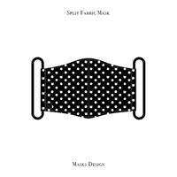 スプリット マスク  / キャット ポルカ ドット デザイン ( ブラック・ホワイト )