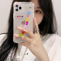 マルチカラーハートチェーン iphone12/11ケース  クリアiphoneSE2/XS/8カバー  かわいい instagram人気品 M485