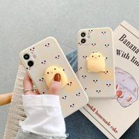 ひよこ iphoneSE2/11ケース ストレス解散 立体ひな鳥付きアイフォン12ケース つまむ 可愛いおもちゃスマホケースM280