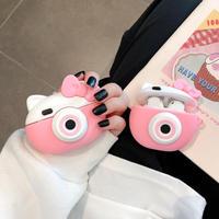かわいいairpodsproケース 猫デザイン リボンエアーポッズカバー ピンク色 持ちやすいA1