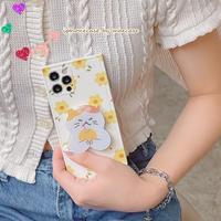 猫ちゃんスマホグリップ付 iphone11/12promaxケース 笑顔の花柄 iphonexr/xsmaxカバー  可愛い スタンド機能付 頑丈 多機能 M681