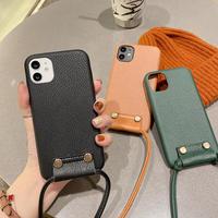 高品質革製 iPhone13mini/13promaxケース   携帯ストラップ付き 首掛け iphone12 /11proカバー  お上品 シンプル ファッションM1165