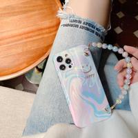 オシャレキラキラ iphone12/11ケース 真珠チェーン付きアイフォンSE2ケース オーロラ光るGIRLSむけ便利携帯カバーM364