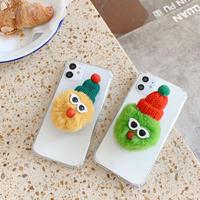 ふわふわモンスタースタンド付きiPhone12mini/SE2ケース 可愛い怪獣アイフォン11/8カバーM237