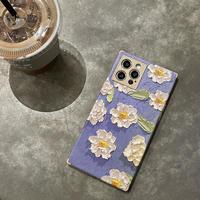 花柄 iphone12/11ケース  綺麗flowerアイフォンケース  個性的スクエア型 可愛い携帯カバー  春コーデM352