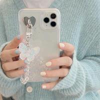 ラメ入り液体グリッター  iphoneSE2/12ケース  蝶ストラップ付 透明アイフォン11/xsカバー キラキラオシャレスマホカバーM390