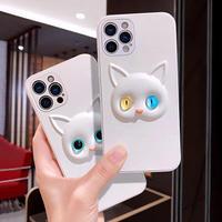 美しい瞳 オッドアイ猫 iphone11/12promaxケース  金目銀目cat アイフォンXR/XS/SE2カバー  青緑虹彩色 革 頑丈手触りいいM389