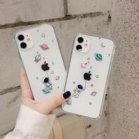 iphone12promaxカバー 透明 宇宙飛行士 アイフォン11プロマックス/8プラスケース お揃い 軽い薄い高品質クリアスマホケース insファッションM152