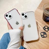 グリップ性耐衝撃 iphone13mini/13proケース ピンク チェリー色 クリアアイフォン12mini/11pro/SE2カバー  カメラレンズカバー二つ付き(白色と黒色) M1172