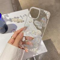 オシャレ蝶々デコiphone12/11ケース 立体花 真珠 iphonexs/xsmaxカバー  綺麗  ファッション 透明感 M746