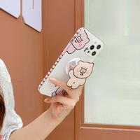 pigイノシシスマホグリップ  iphone12/11ケース  キュートiphoneSE2/XS/8カバー  スタンド機能 可愛い 人気品 M555