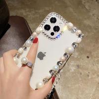オシャレ真珠デコ  iphone12/11ケース  綺麗ダイヤモンド付 iphoneSE2/XS/8カバー  チェーン付き 透明感 可愛い  インスタ人気 M534