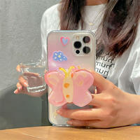 蝶グリップ付 iphone13/13proケース  綺麗 iphone12pro/11カバー  卓上スタンド機能付き 便利 M987