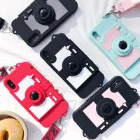 カメラデザインiphoneXS/XR/XS MAXケース カード入れ付 紐付き スタンド機能  シリコン製 可愛い個性