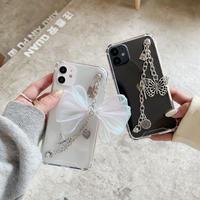 ガールズ iphone12/11proケース インスタ映えクリアカバー チェーンちょう付き 透明感高い携帯ケース M193