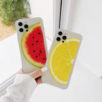 スイカレモン柄  iphone11/12proケース お揃い透明 iphonexs/se2カバー   頑丈黄ばまない 面白いM731