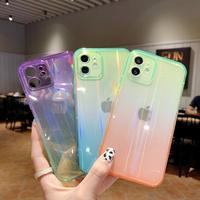 オーロラ色 光るiphone12/11promaxケース グラデーションカラー透明 iphoneSE2/XSmaxカバー おしゃれキラキラ頑丈スマホケースM447