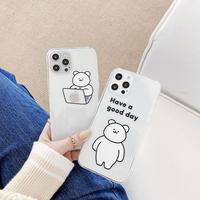 お揃いクマさんアイフォンSE2/11ケース クリアiphone12mini/XSカバー 可愛い頑丈面白い携帯ケースM248