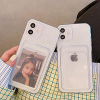 カード入れ付 iphone12/11Proケース  黄ばまない透明iphoneSE2/XS/8カバー  交通カードSUICA/PASMO/ICOCAなど収納 便利耐久性 M510