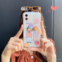 可愛いカップル iphone12/11ケース  クリアiphoneSE2/XS/8カバー  耐衝撃 抗菌 使いやすい M483
